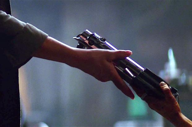 Luke's lightsaber in The Force Awakens