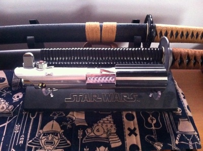 Lightsaber and katanas
